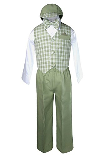 - Unotux Boy Formal Wedding Sage Green Gingham Checks Vest Bow Suits Sets Hat S-XL (S:(0-6 months))