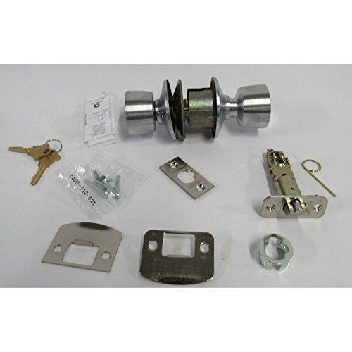 (Schlage F51A BEL 626 Bell Knob Keyed Entry Lock, Satin Chrome)