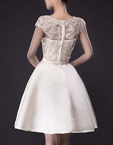 Neck Lace Pockets Bateau Dress Fanhao Beading Gown Women's Champagne Short Wedding Bridal awOE7