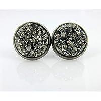 Hematite-tone Gunmetal Gray Faux Druzy Stone Stud Earrings 12mm