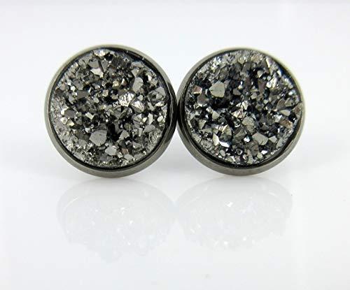 Hematite-tone Gunmetal Gray Faux Druzy Stone Stud Earrings 12mm ()