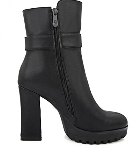 Botas cortos de las mujeres con alto - tacón de 10cm de espesor alrededor de cabeza impermeable botas de otoño e invierno botas de Martin black