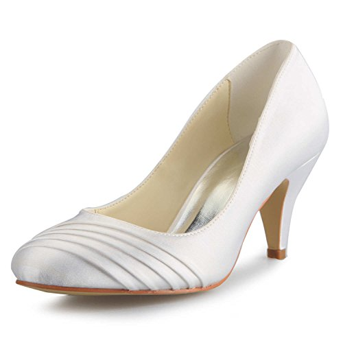 Mi Bout Pompes Pour En Fermé Blanc De Chaussures 5949415 Jia Femme Volants Mariée Satin Mariage Talon wxUagpqa4