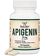 Apigenin Supplement - 50mg per Capsule, 120 Count (Powerful Bioflavonoid Found in Chamomile Tea for Relaxation, Sleep, and Mood) Made and Tested in The USA, by Double Wood Supplements