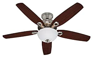 Hunter 21809 Builder Deluxe 52-Inch 5-Blade Single Light Ceiling Fan, Brushed Nickel with Stained Oak/Brazilian Cherry Blades and Frosted Glass Bowl
