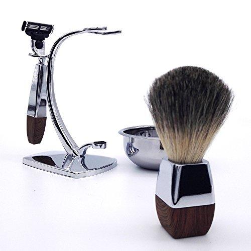 akpower shaving set for men badger brush bowl stand and cartridge razor beard primp. Black Bedroom Furniture Sets. Home Design Ideas
