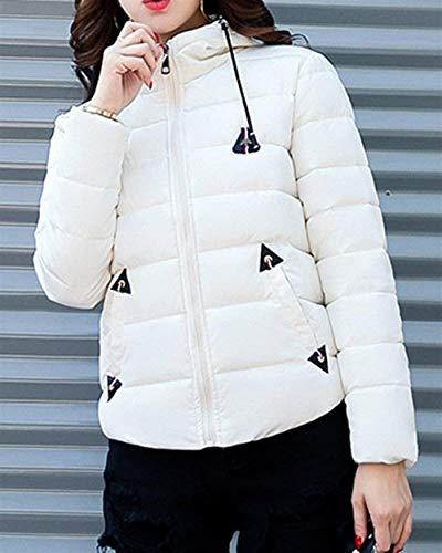 Piumino Moda Addensare Manica Donna Casual Incappucciato Calda Piumini Bianca Slim Invernali Cappotti Fit Lunga Abbigliamento Eleganti Giacca Trapuntata wqfFYF