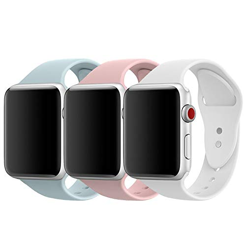 AdMaster for Apple Watch Band 38mm, Soft Silicone Sport Strap for iWatch Apple Watch Series 1/ Series 2/ Series 3, S/M Size (Pink Sand/Turquoise/White) by AdMaster