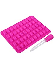 Chocolate Candy Maker Ice DIY Craft Tray Bear Silicone Mold Silicone Kitchen Tool 50 Cavities(Rose REd)
