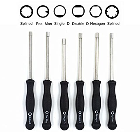 AOBOR 6 Piece 2 Cycle Carburetor Adjusting Tool with Case Included Pac Man/ Single D/ Double D/ Hexagon/ 7 Teeth Splined/ 21-Teeth Splined Carb Adjustment Tool for Common 2 Cycle Small Engine