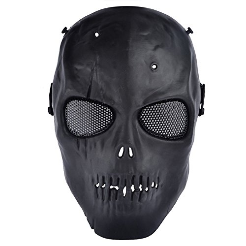 Black CS Skull Skeleton Full Face Mask Tactical Paintball Airsoft Protect Safety Horror Mask Halloween Cosplay Dress Mask ()