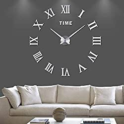 Frameless Mirror Wall Clock Stickers 3D DIY Large Roman Numerals Self-Adhesive Silent Wall Stickers Decorations for Living Room -Silver D28-35in