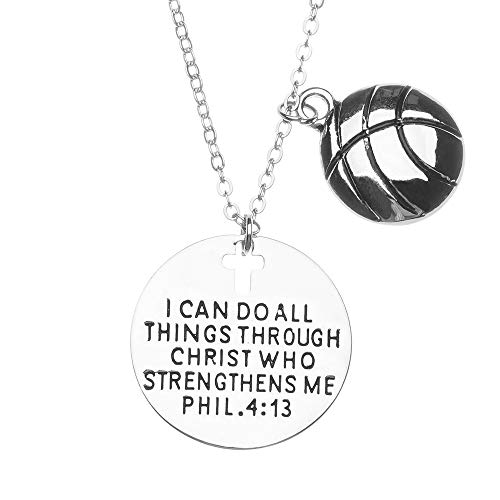 Basketball Christian Necklace, Faith I Can Do All Things Through Christ Who Strengthens Me Phil. 4:13 Pendent, Scripture Jewelry Christian Gifts Verse Bible Gift for Female Basketball Players