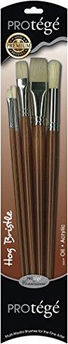 Connoisseur Hog Bristle Long Handle Brush Set, 5-Piece