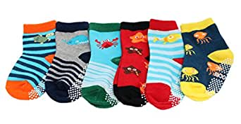 6-pack Baby Kids Boys Cotton Rich Non-slip Sea Creature Striped Socks (1-3 Years)