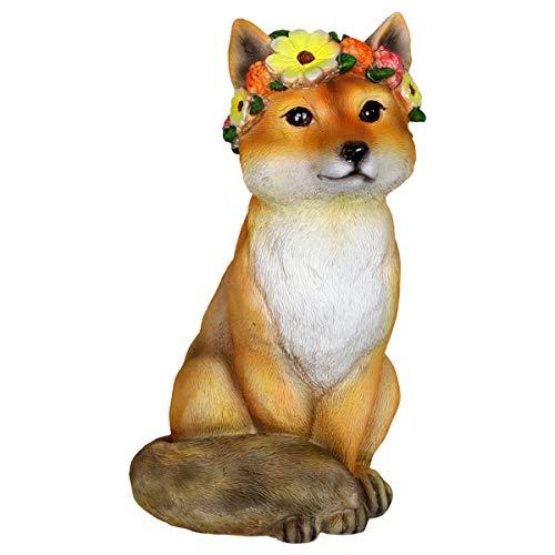Exhart Solar Flower Crown Fox Garden Statue - Cute Resin Statue of a Brown Fox with a Flower Crown Features Solar LED Decor Lights - Brown Fox Outdoor Decor for Home Garden and Patio, 10 Inches (Fox Yard Statue)