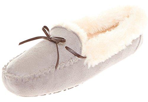 Floopi Womens Indoor Outdoor Faux Pelz gefüttert Kragen braun geschnürt Mokassin Slipper W / Memory-Foam Grau-307