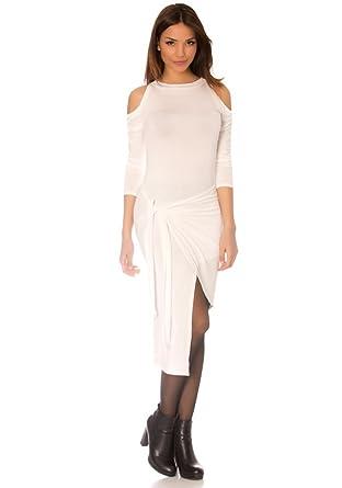 dmarkevous Robe portefeuille blanche, mi-longue, asymétrique et épaule nue.  Robe Sexy cb0190b9097e