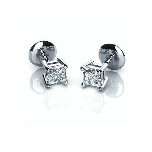 Boucles d'oreilles clous avec diamant 0,50carat Princesse Vis Arrière en platine 950