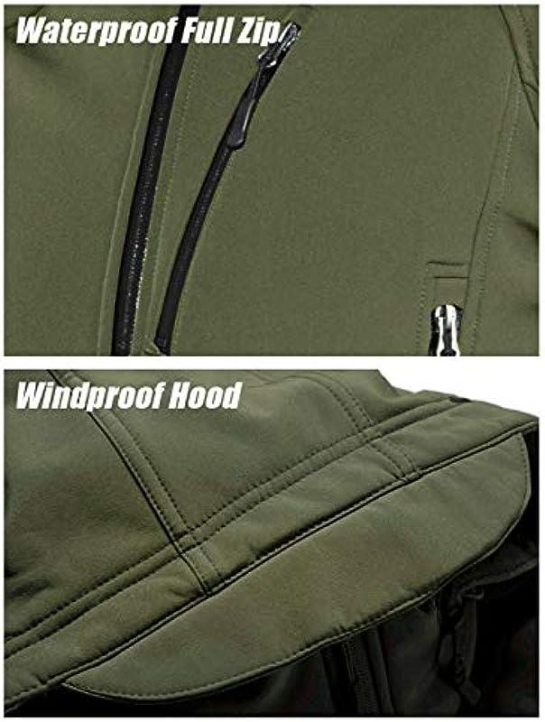 TACVASEN Męskie Softshelljacke Wasserdicht Militär Jacke Warme Outdoorjacke mit Multi Reißverschlusstaschen: Odzież