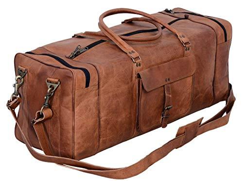 091b27966130 KPL 30 Inch Large Leather Duffel Travel Duffle Gym Sports Overnight Weekender  Bag
