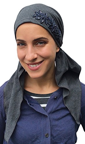 PREMIUM Headscarf, Pre-Tied FITTED Headwear COTTON Charcoal Grey. Mia