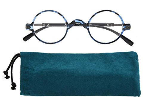 Eyekepper Round Reading Glasses a Little Large than Vintage Professor Oval Readers (Blue Stripe,+2.00) (Blue Readers Little)