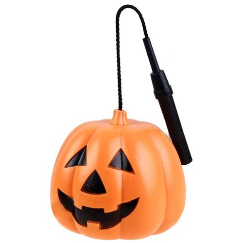 VORCOOL Halloween Pumpkin with Handle Smiling Face Design Plastic Luminous Halloween Pumpkin Lantern with Durable Rope Carrying Handle (S-Size) -