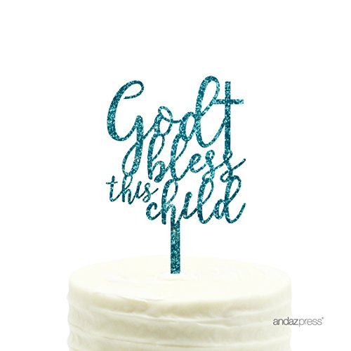 Andaz Press Baby Baptism Acrylic Cake Toppers, Diamond Blue Aqua Glitter, Bless This Child, 1-Pack, Boy Communion Christening by Andaz Press