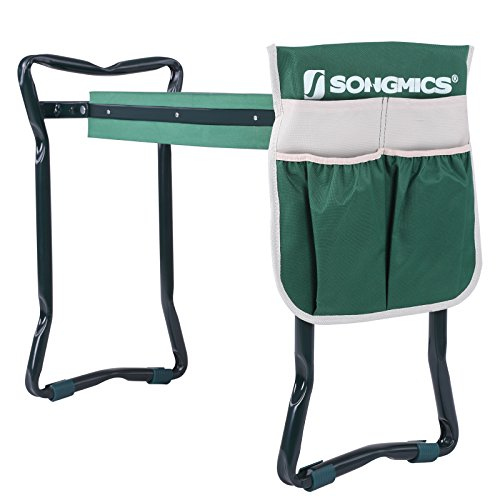 SONGMICS Folding Garden Kneeler - Folding Bench Stool with Kneeling Pad for Gardening - Sturdy,...