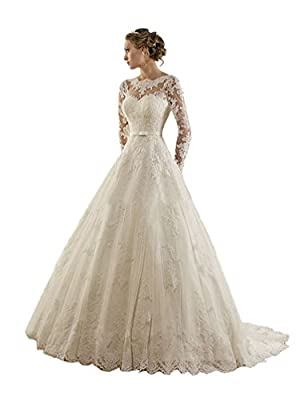 TDHQ Women's Jewel Lace Applique Long Sleeves Sash Chapel Train A Line Wedding Dress White US10