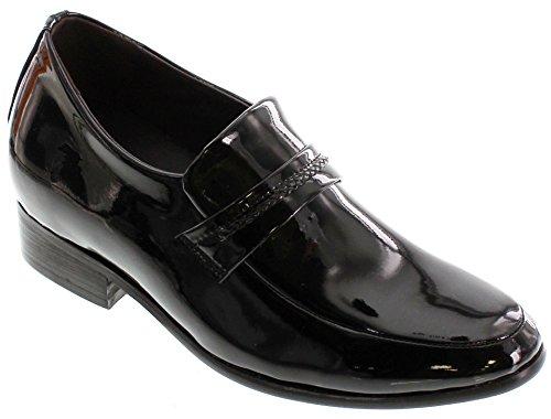 Calden -k18132 - 2,6 Pollici Più Alto - Scarpe Rialzanti Con Altezza Aumentata - Scarpe Eleganti Da Infilare In Vernice Nera