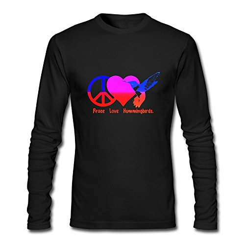 HUDS VIFV Peace Love Hummingbirds Men's Long Sleeve Crewneck (Hummingbird Rose T-shirt)