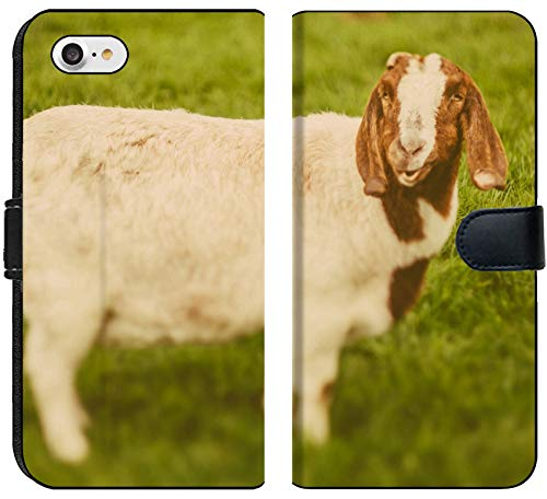 Luxlady iPhone 8 Flip Fabric Wallet Case Image ID: 34232218 Goat on a Green Grass as Sign of 2015 Year by Chinese Calendar Vintage t