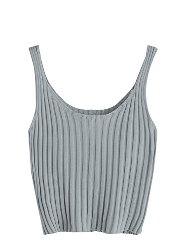 SweatyRocks Women's Ribbed Knit Crop Tank Top Spaghetti Strap Camisole Vest Tops Grey One Size