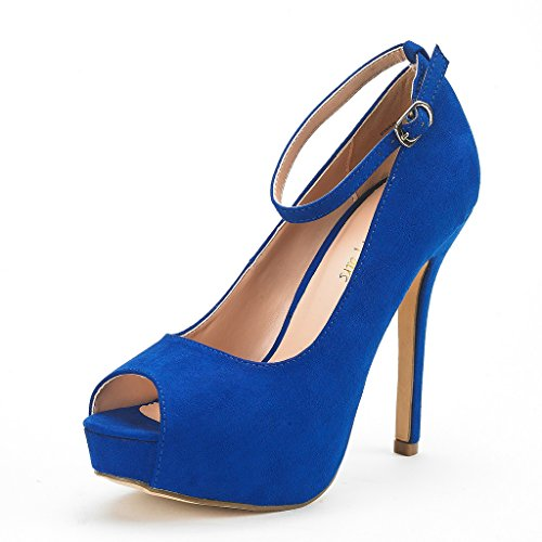 DREAM PAIRS Women's Swan-10 Royal Blue High Heel Plaform Dress Pump Shoes - 10 M US