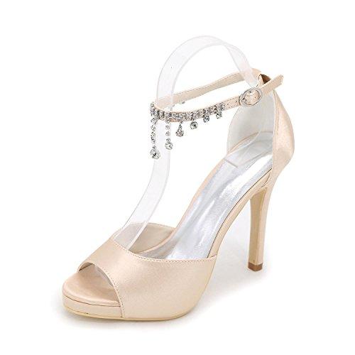 L para Primavera Ivory YC Pearl Tacones Tacón Vestido de aguja Satén mujer Cristal Plataforma Otoño Champagne Estiramiento Boda rE1rqCxw
