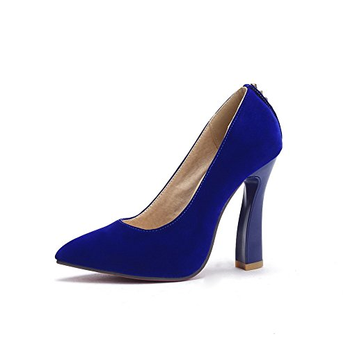 BalaMasa donna a punta high-heels slip-on satinato pumps-shoes, Blu (Blue), 35