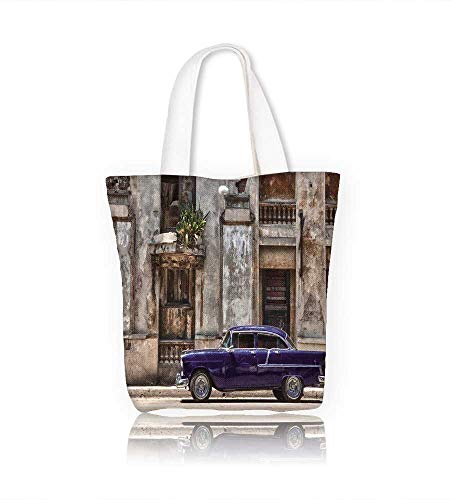 Ladies canvas tote bag Stock Photo vintage car in Havana Cuba reusable shopping bag zipper handbag Print Design W16.5xH14xD7 INCH