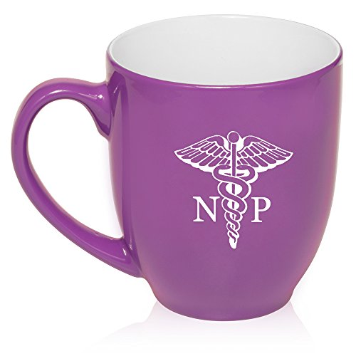 16 oz Large Bistro Mug Ceramic Coffee Tea Glass Cup NP Nurse Practitioner Caduceus (Purple)