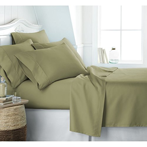 Egyptian Luxury 1800 Hotel Collection Bed Sheet Set - Deep Pockets, Wrinkle and Fade Resistant, Hypoallergenic Sheet and Pillow Case Set - (Split King, Sage) (Italian Bed)