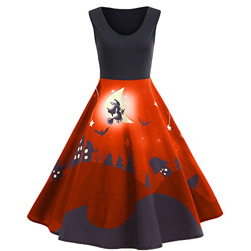ThsiJJ Women's Halloween Sleeveless Dress Vintage Elegant Witch Print Masquerade Swing Cocktail Party Midi Dress Red -