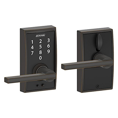 Plymouth Hardware Century (Schlage Touch Century Lock with Latitude Lever (Aged Bronze) FE695 CEN 716 LAT)