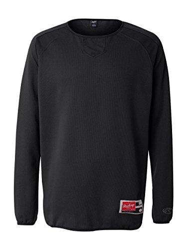 Rawlings Mens Long Sleeve Flatback Mesh Fleece Pullover 9705 -Black 3XL