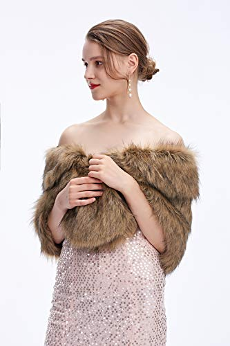 Decahome Wedding Faux Fur Wraps and Shawls Wedding Bridal Stole for Brides and Bridesmaids Brown Fox Fur