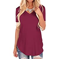 Fantastic Zone Women's Short Sleeve V-Neck Loose Casual Tee T-Shirt Tops