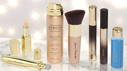 Jerome Alexander Essential Makeup Collection, 7 Piece Makeup Set, Concealer, Airbrush Foundation, Kabuki Brush, LashTech Mascara & Eye Makeup Remover (Light)