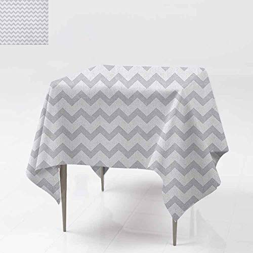 AndyTours Square Table Cloth,Grey and White,Chevron Pattern Zigzag Geometrical Arrow Lines Stripes Abstract Print,Dinner Picnic Table Cloth Home Decoration,36x36 Inch Pale Grey White (Chevron Grey Napkins And White Paper)