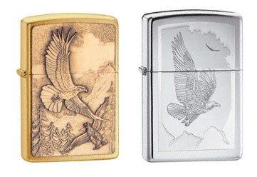 Zippo Lighter Set - Where Eagles Dare Brass Emblem, and Birds of Prey High Polish Chrome, Pack of (Prey High Polish)