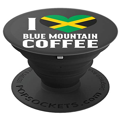 Blue Mountain Coffee Jamaica Love Jamaican Heart Flag - PopSockets Grip and Stand for Phones and Tablets